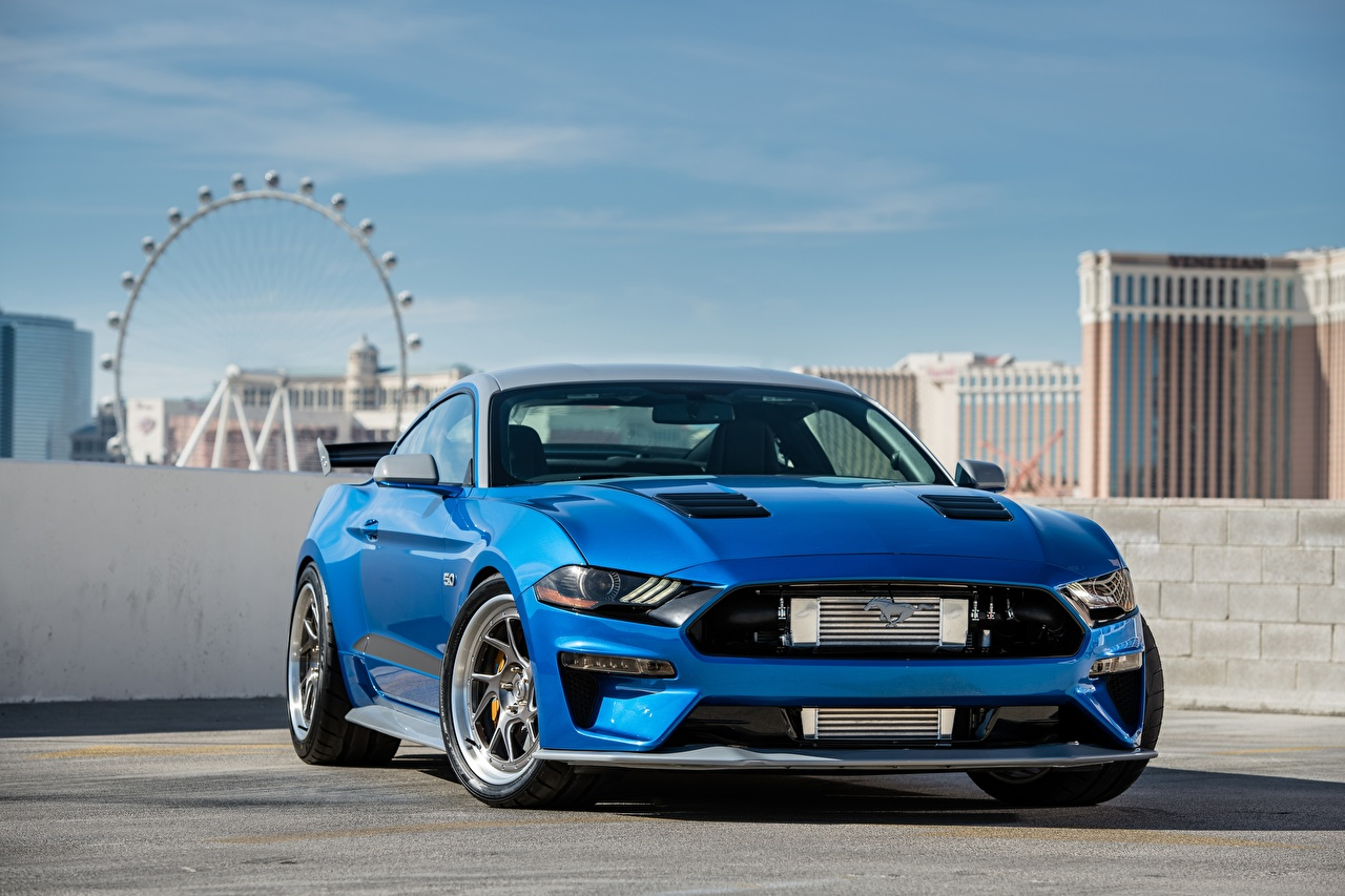 Images Ford Mustang GT Bojix Design SEMA 2018 Blue Front automobile auto Cars
