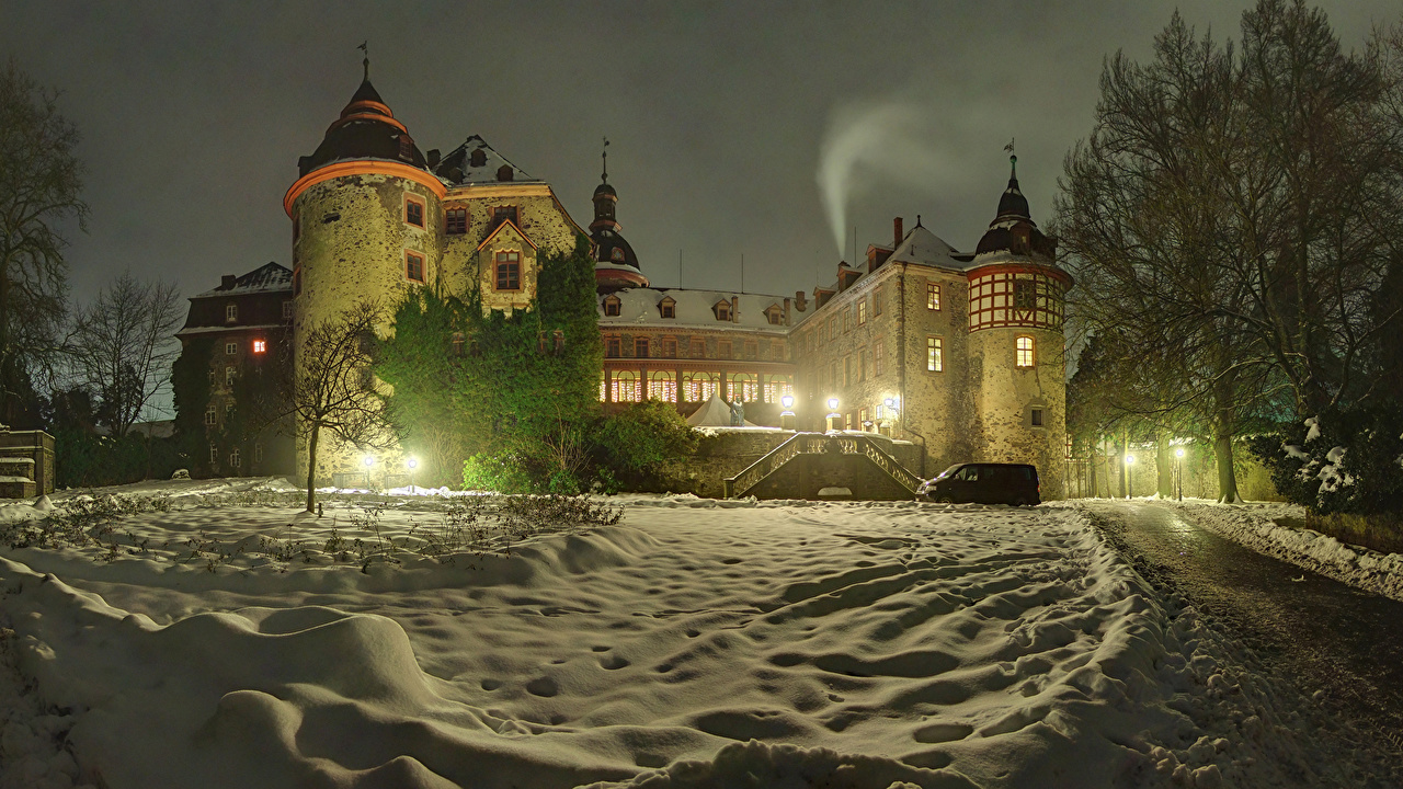Photos Germany Laubach Castle Winter Castles Snow Night Street lights Cities castle night time