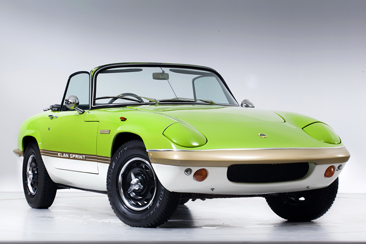 Image Lotus 1971-73 Elan Sprint Drophead Coupe antique Yellow green auto Retro vintage lime color Cars automobile