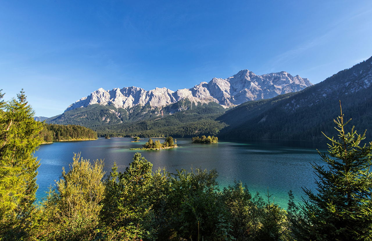 Pictures Bavaria Alps Germany Eibsee, Garmisch-Partenkirchen Nature Mountains Lake Trees mountain