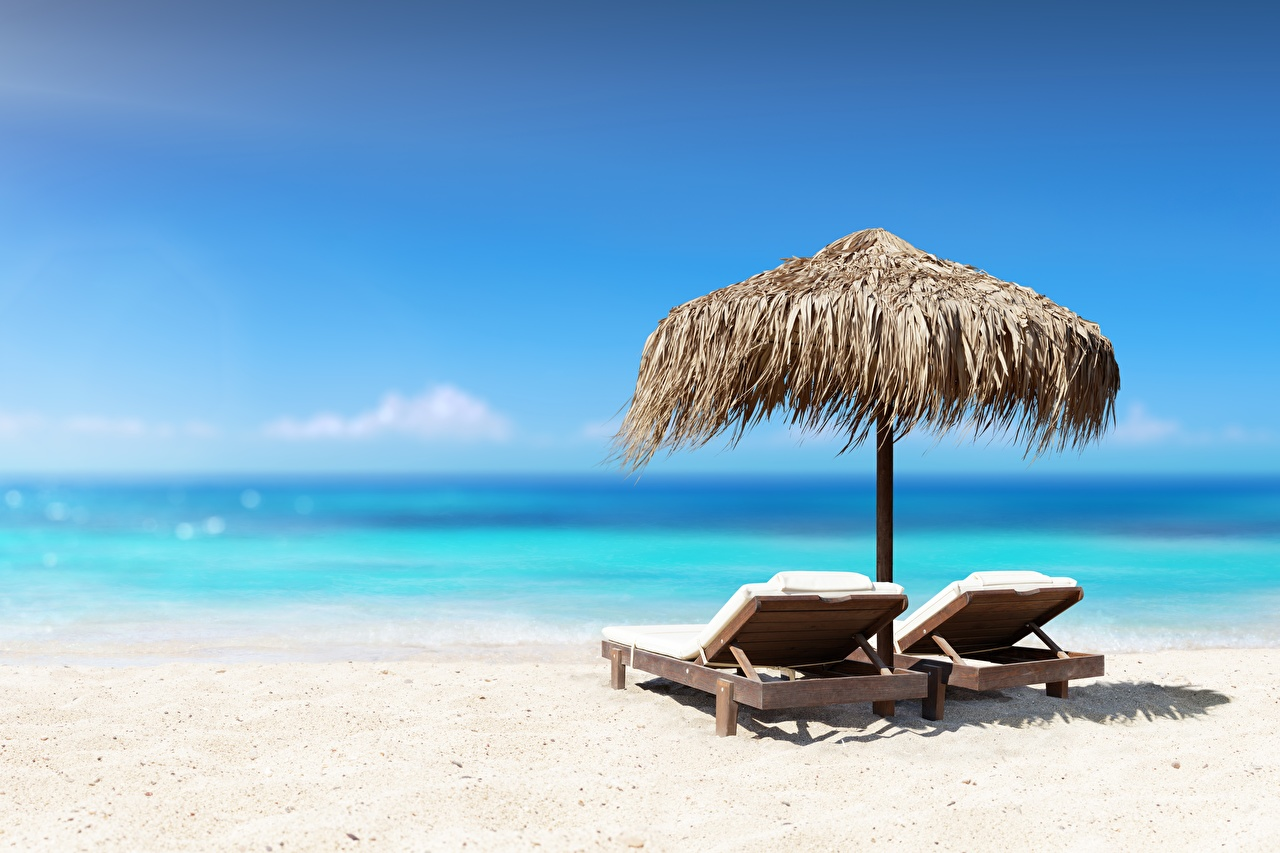 壁紙 海 空 ビーチ サンベッド 砂 休息 自然 ダウンロード 写真