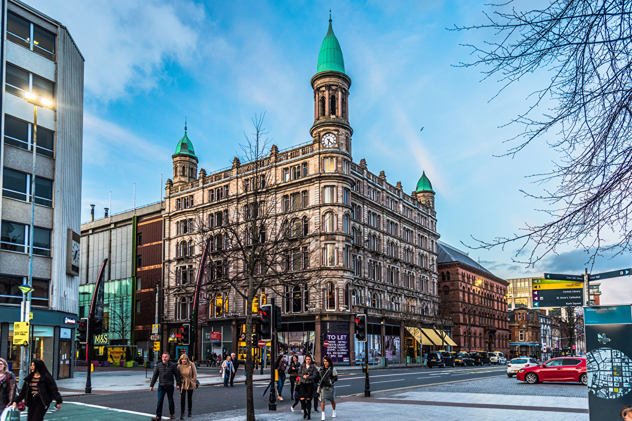 Pictures United Kingdom Belfast, Northern Ireland, Belfast City Centre People Street Houses Cities Building