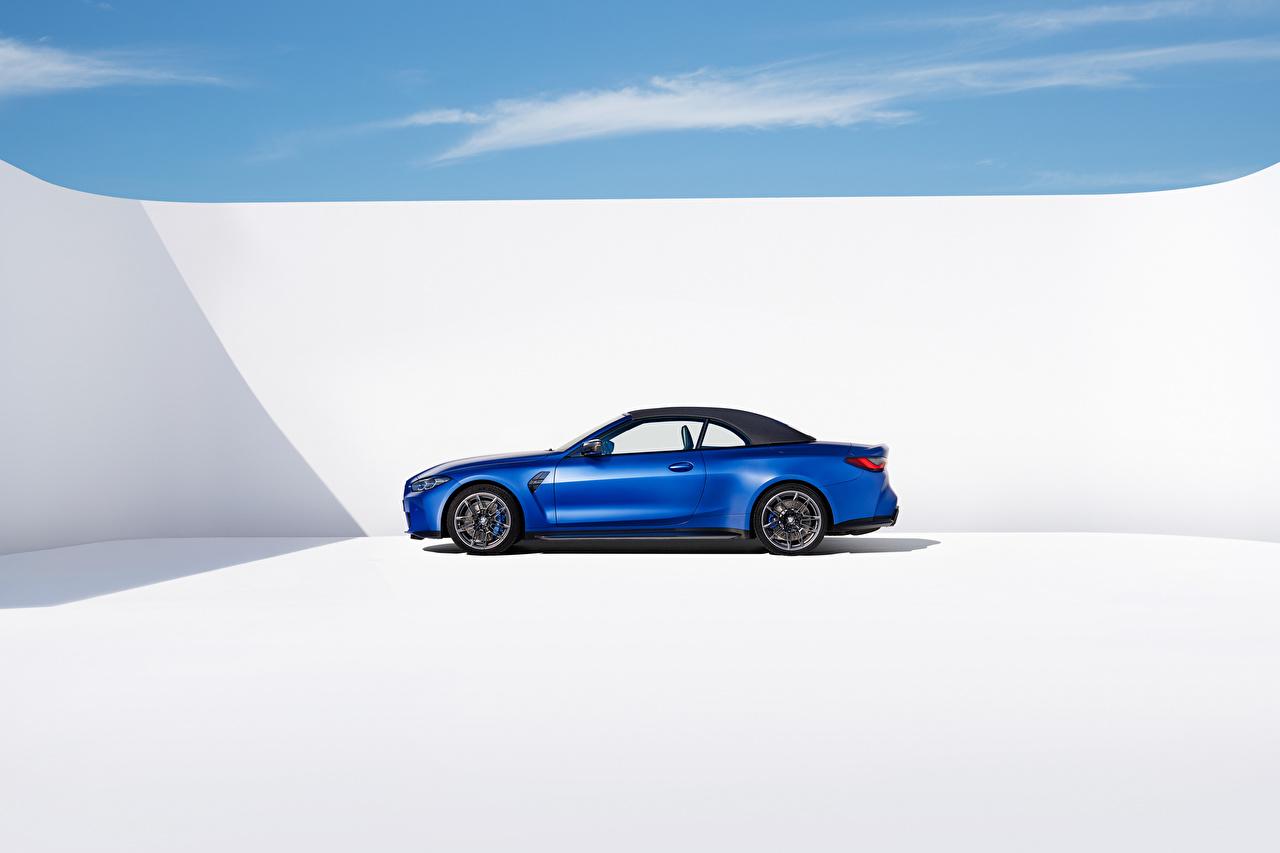 ,BMW,M4 Competition M xDrive Cabrio, (Worldwide), (G83), 2021,蓝色,金屬漆,側視圖,敞篷车,汽车,