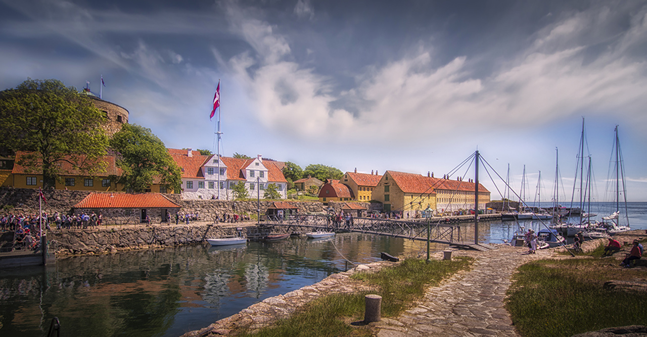 Image Denmark Bornholm bridge Bay Berth Houses Cities Bridges Pier Marinas Building