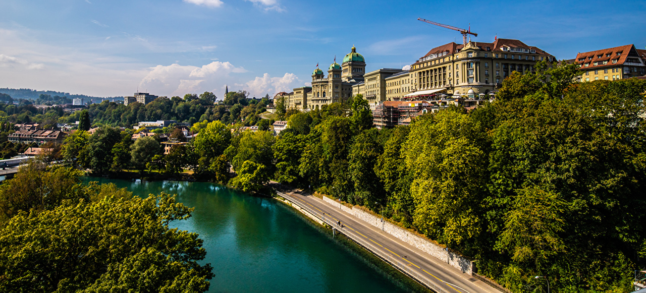 Photo Bern Switzerland river Trees Cities Building Rivers Houses