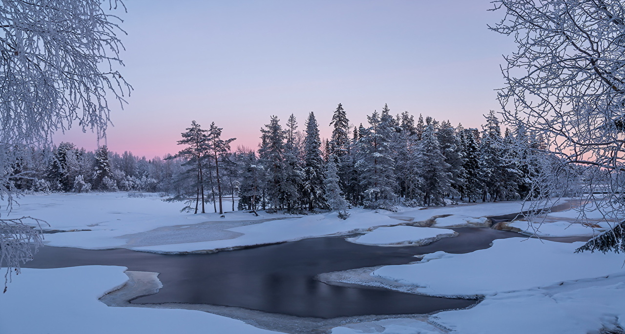 Wallpaper Winter Nature Snow forest river Forests Rivers