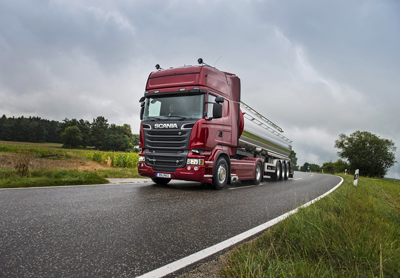 Picture Scania Trucks R730 Roads Motion automobile lorry moving riding driving at speed Cars auto