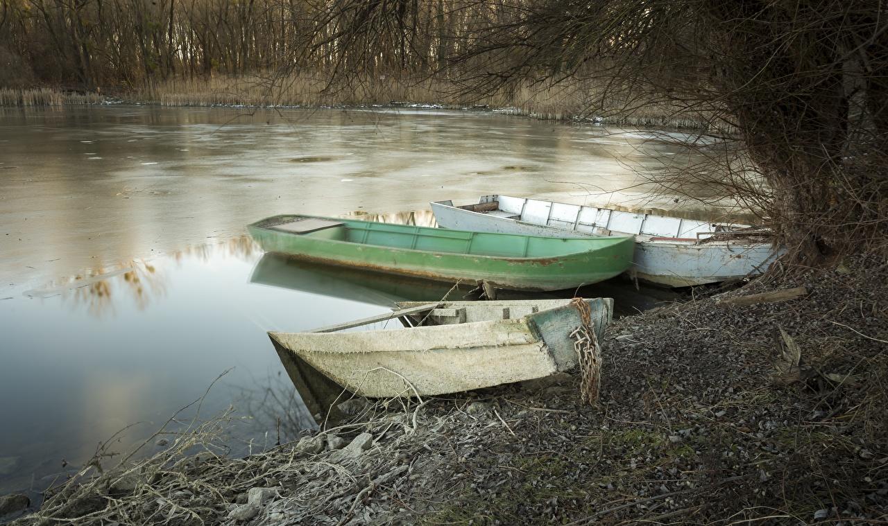 Wallpaper Ice Nature Lake Boats Three 3