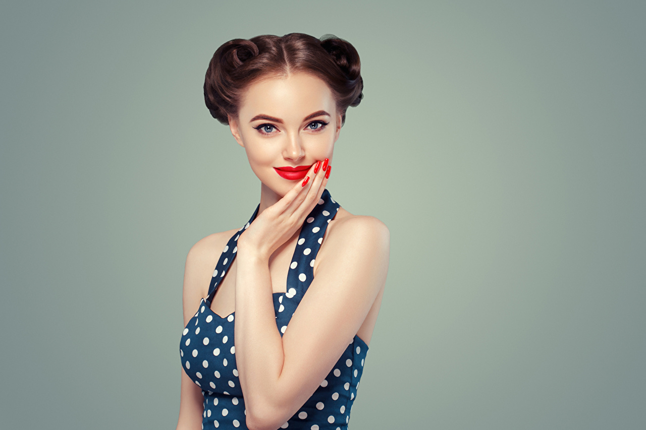 Images Brown haired Manicure Girls Hands Glance Red lips Gray background Staring