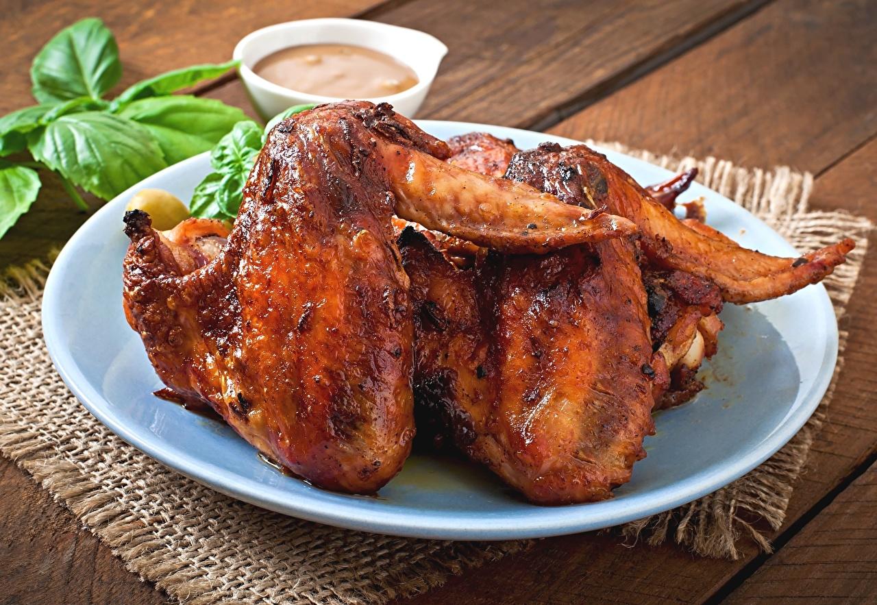 Fotos von Hühnerbraten Teller Lebensmittel das Essen