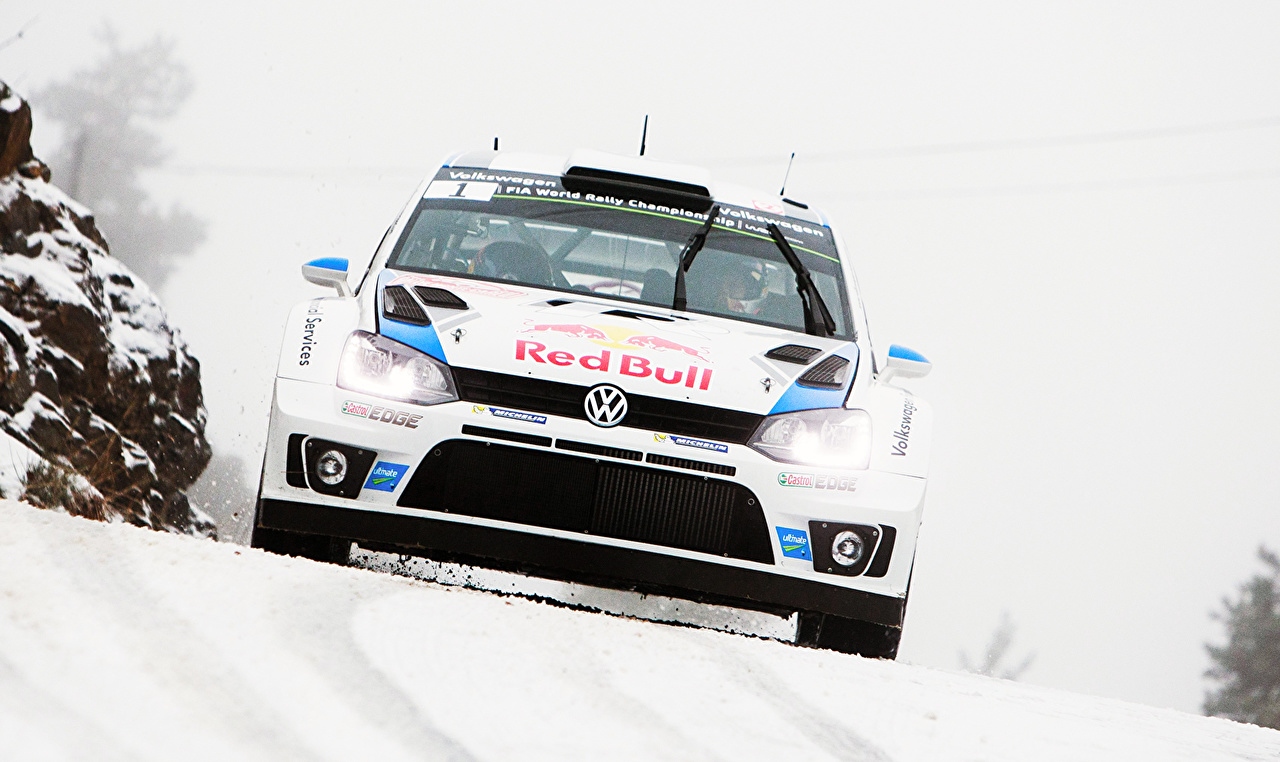 Pictures Tuning Volkswagen Rallying Polo WRC Red Bull White Snow Cars Front auto automobile