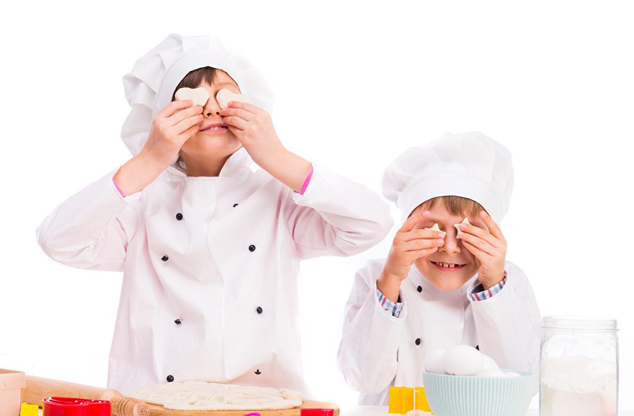 Foto jungen Kinder Zwei Hand Uniform Küchenchef Weißer hintergrund Junge 2 koch köche