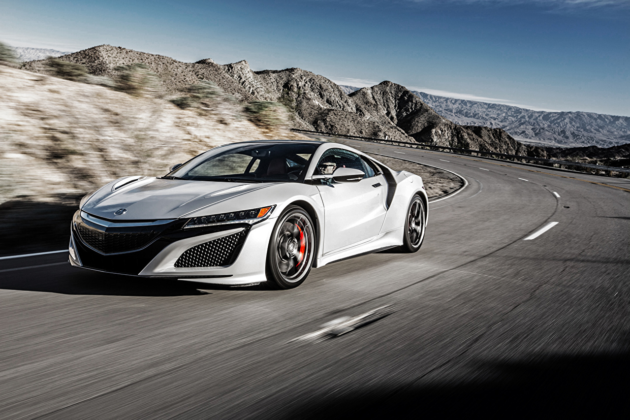 Photos Honda Acura NSX White Motion Cars moving riding driving at speed auto automobile