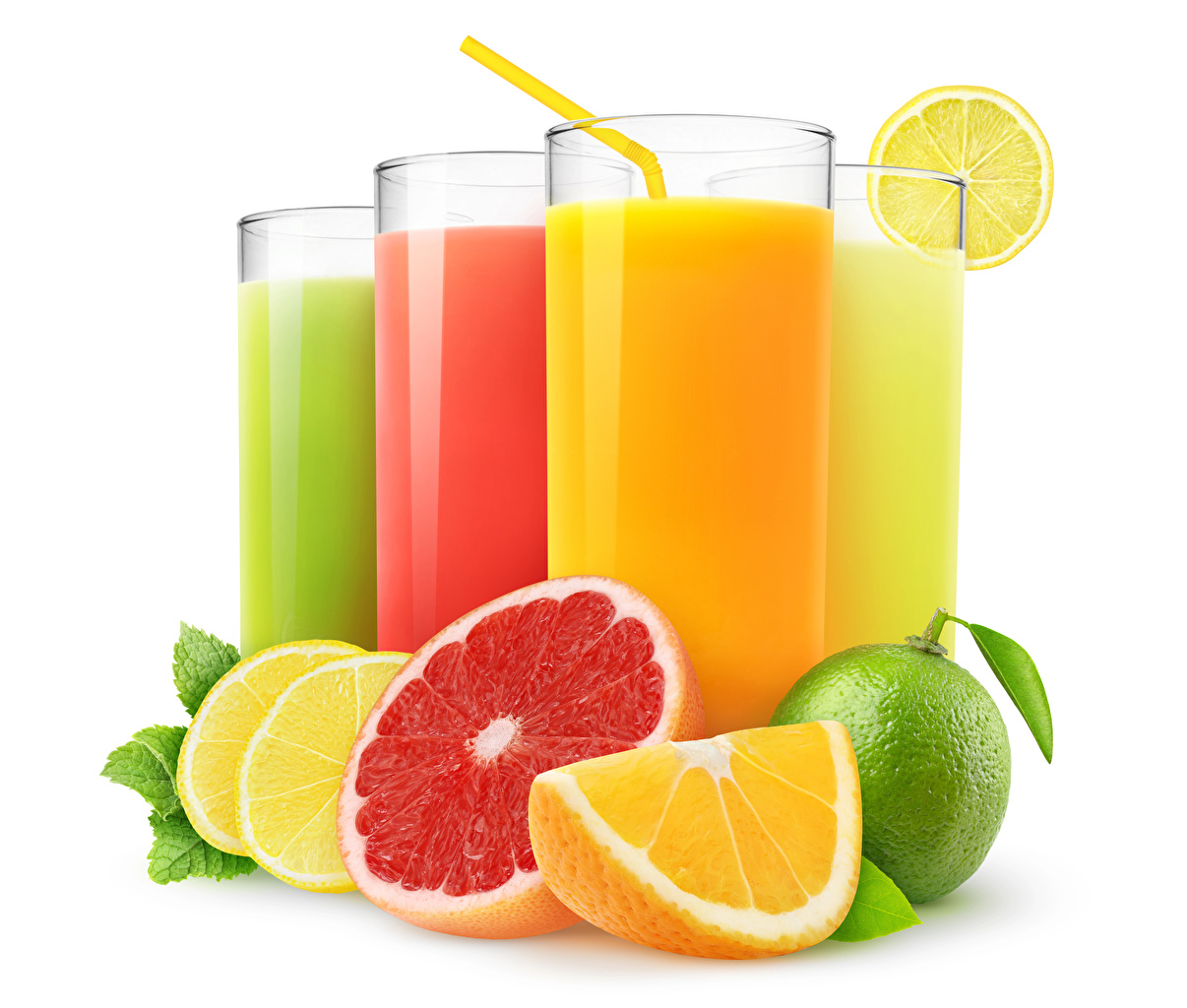Wallpaper Lime Juice Grapefruit Orange fruit Lemons Highball glass Food Citrus White background