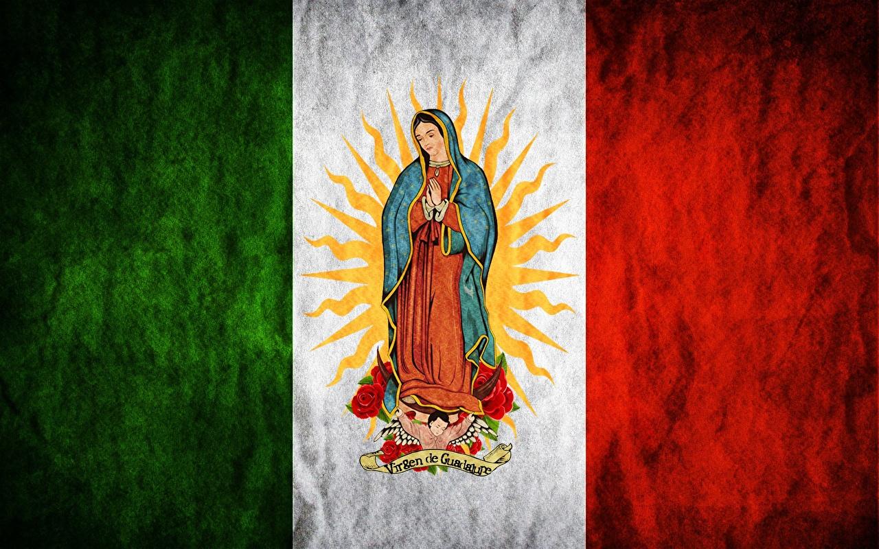 Images Mexico Madonna, Maria, Regina Mundi, Saint Mary, Virgen de Guadalupe Flag