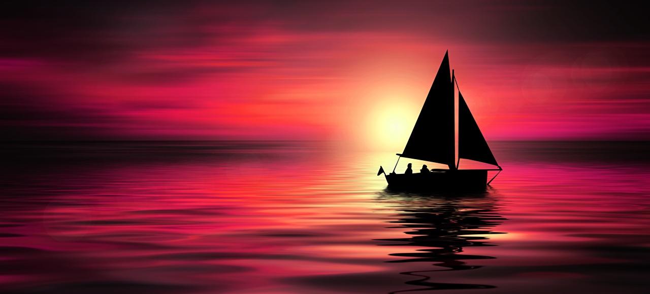 Fotos von Silhouette Meer Natur Sonnenaufgänge und Sonnenuntergänge Boot Segeln