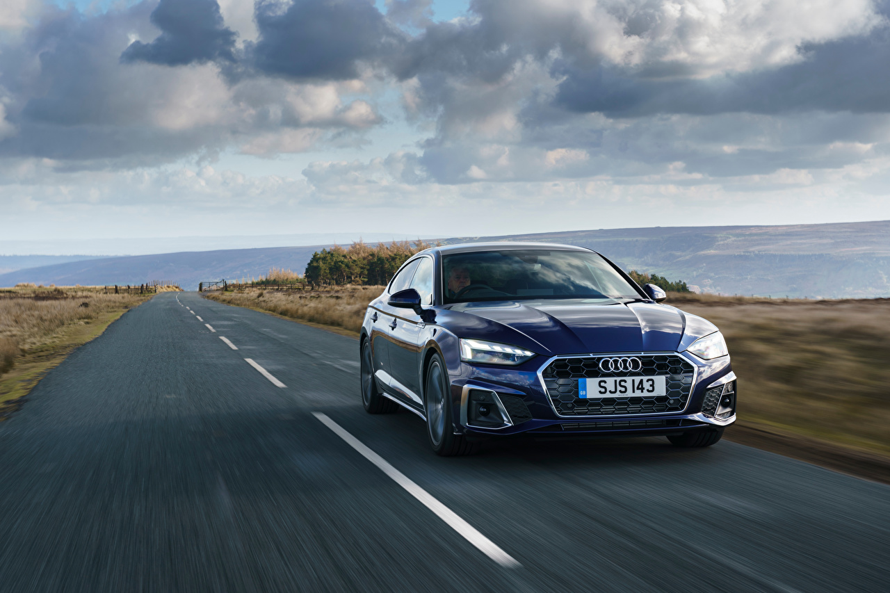 Desktop Wallpapers Audi A5 Sportback 40 TFSI S line, UK-spec, 2020 Blue Roads at speed Cars Metallic moving riding Motion driving auto automobile