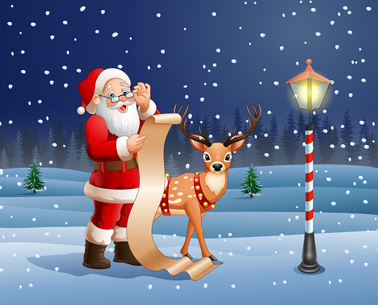Photo Deer Christmas Sheet of paper bearded Santa Claus Snow Glasses Uniform Street lights Vector Graphics New year Beard beards eyeglasses