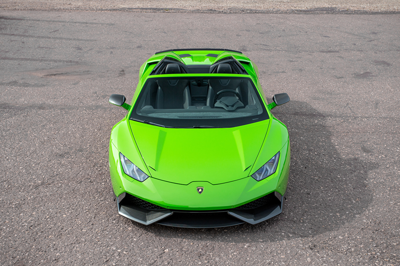Picture Lamborghini Novitec Torado Roadster Yellow green auto Front lime color Cars automobile