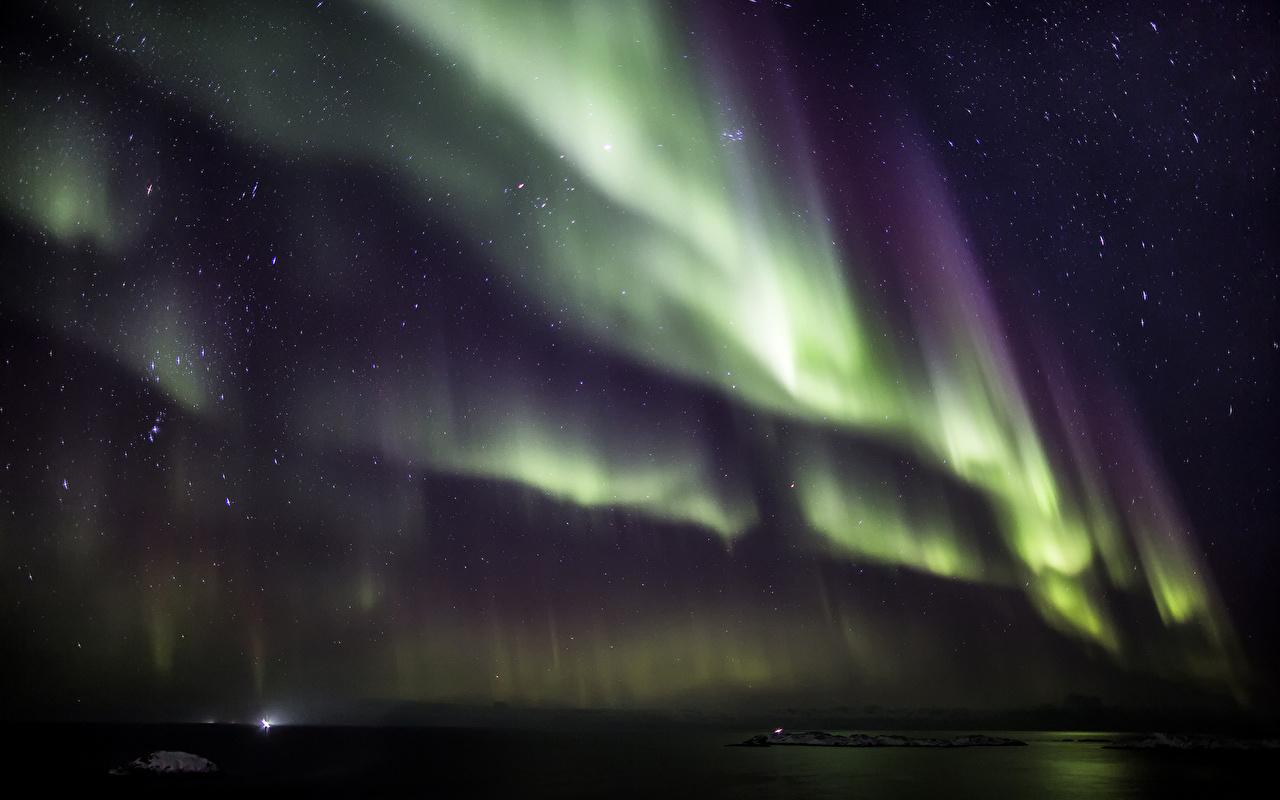 Image Stars polar light Space Sky Night Aurora northern light night time