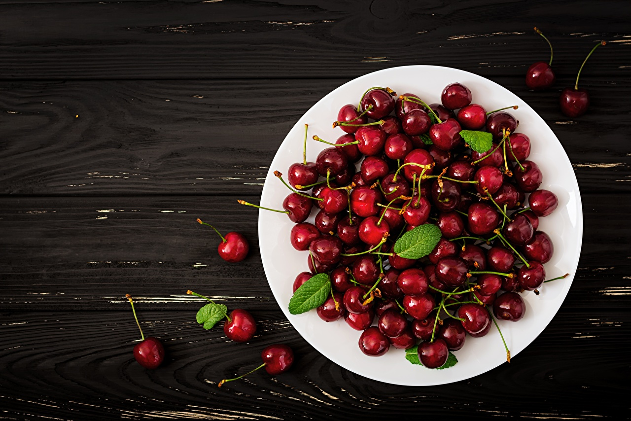 Picture Cherry Food Plate Wood planks boards