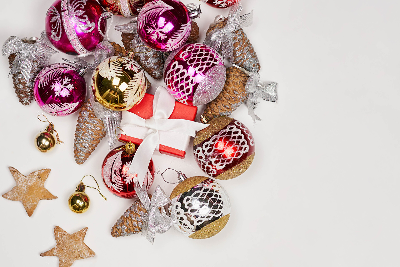 Wallpaper New year Gifts Balls Ribbon Cookies Bowknot Conifer cone Gray background Christmas present bow knot Pine cone