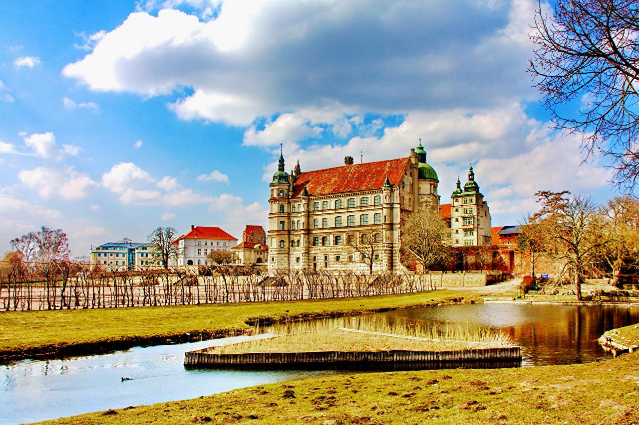 、ドイツ、城、池、空、雲、都市、