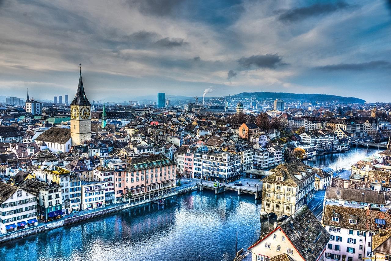 Images Zurich Church Switzerland Limmat river HDRI bridge Evening Houses Cities HDR Bridges Rivers Building
