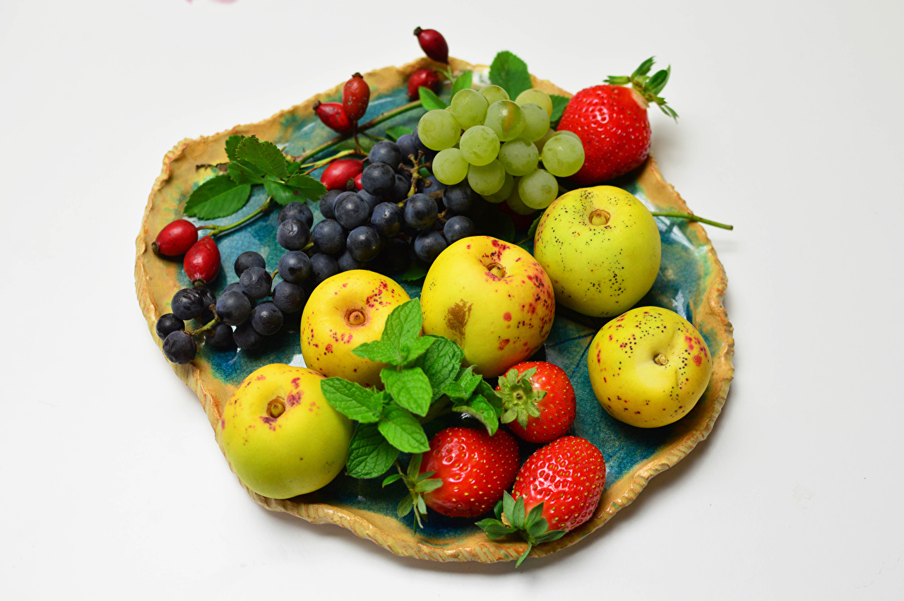 Picture Rose hip Apples Grapes Strawberry Food White background dog rose fruit Dog rose berries
