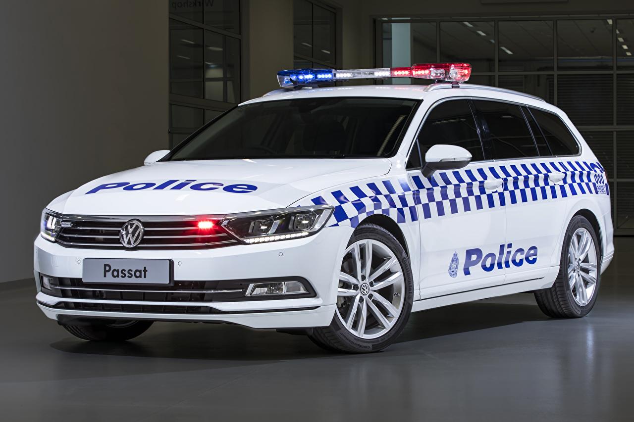 Desktop Hintergrundbilder Volkswagen Fahrzeugtuning Polizei 2019 Passat Proline 132TSI Police Wagon Weiß auto Tuning Autos automobil