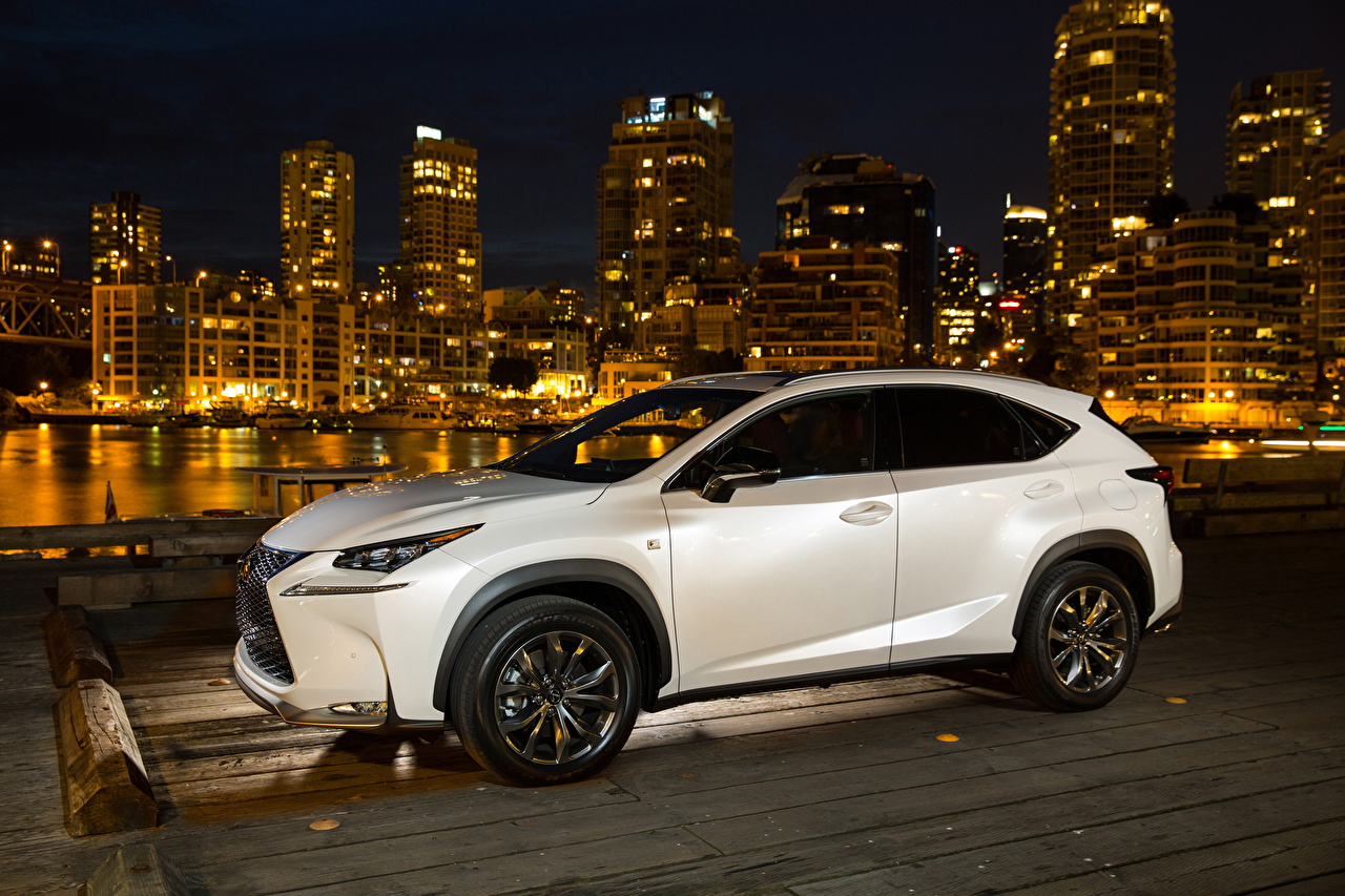 Picture Lexus 2015 NX 200t F-Sport White Night automobile auto Cars night time