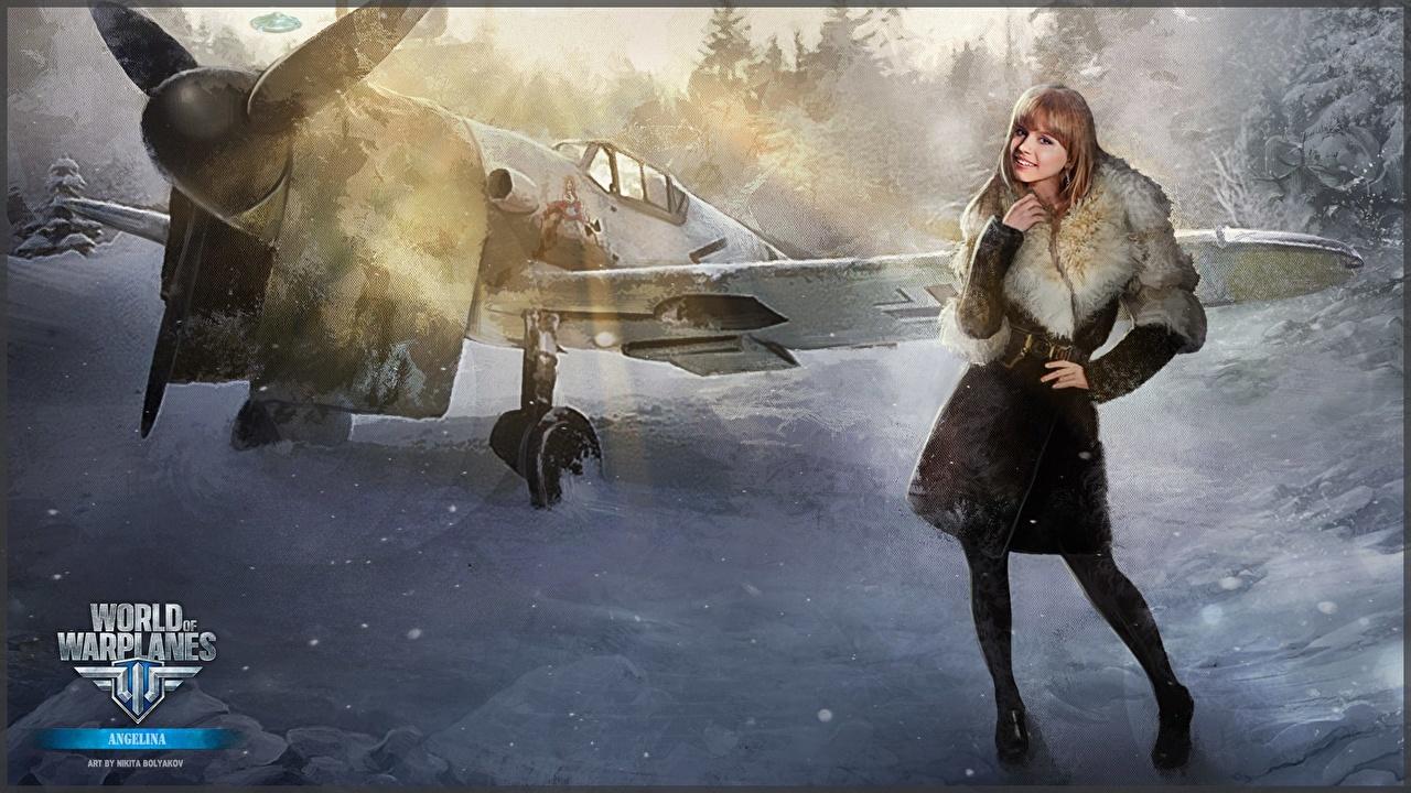 Wallpaper World of Warplanes Nikita Bolyakov Airplane Girls vdeo game Painting Art female young woman Games