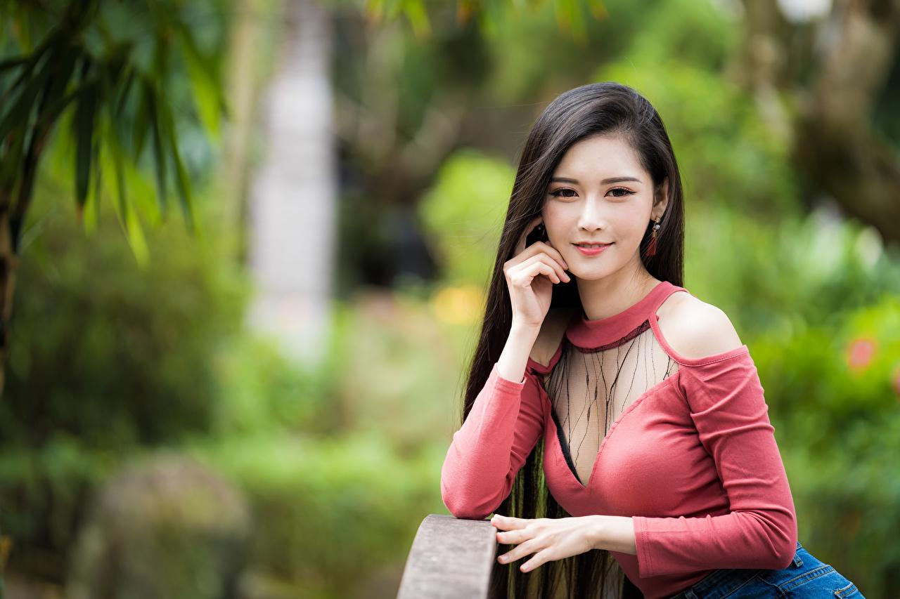 Фотография Размытый фон Девушки азиатка Взгляд боке девушка молодая женщина молодые женщины Азиаты азиатки смотрит смотрят