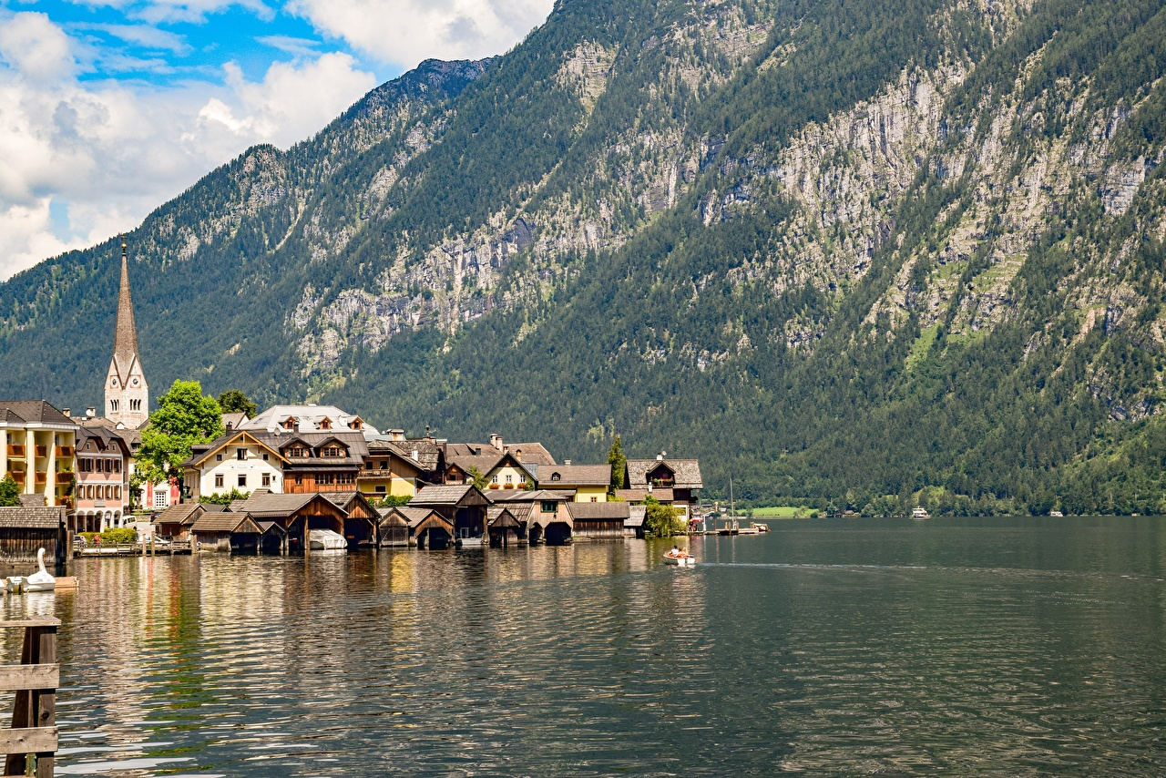 Picture Hallstatt Austria Bad Goisern, Gmunden County mountain Lake Coast Cities Building Mountains Houses