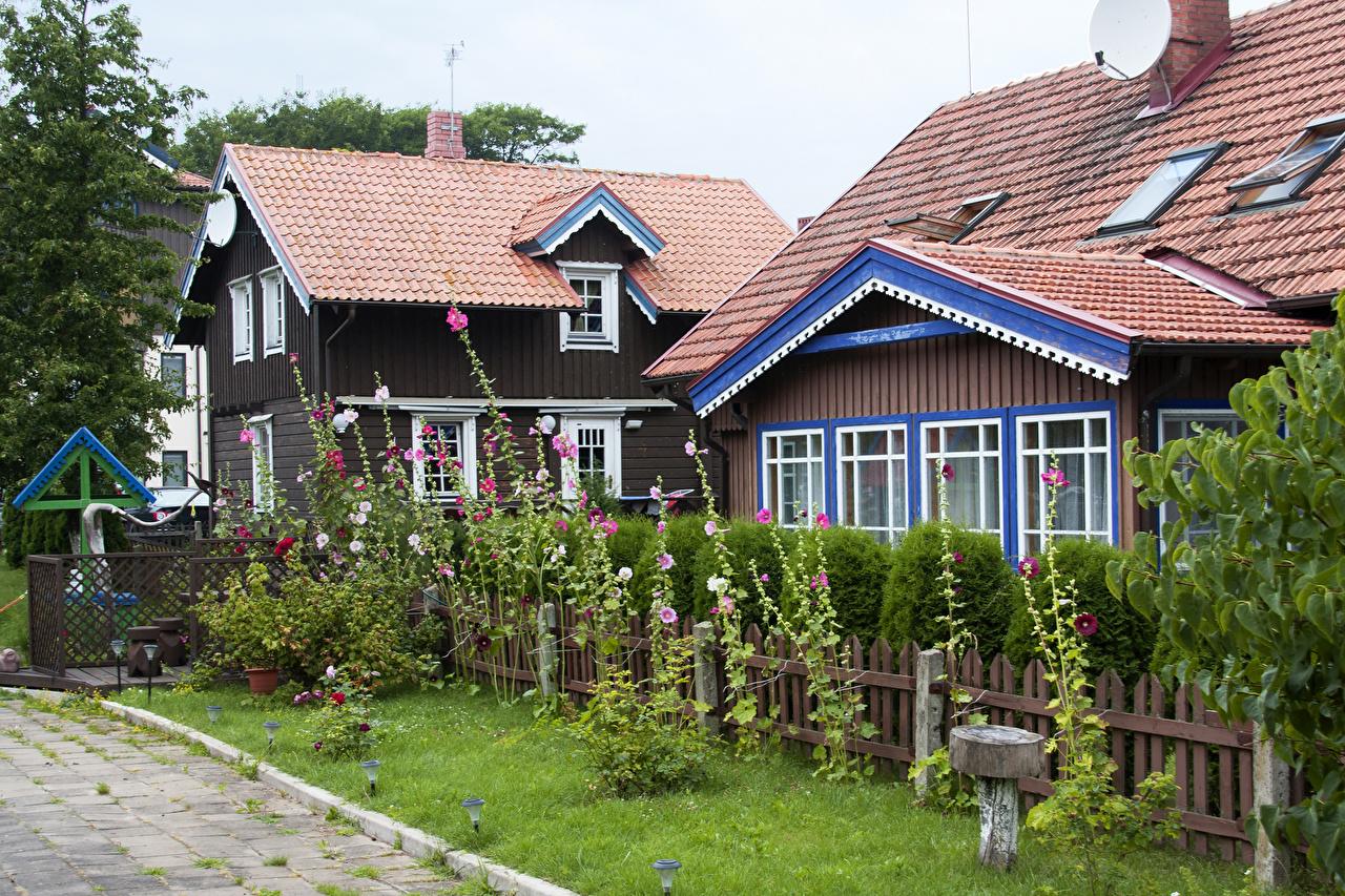 Fotos Litauen Nida Klaipeda Zaun Malven Haus Städte Gebäude
