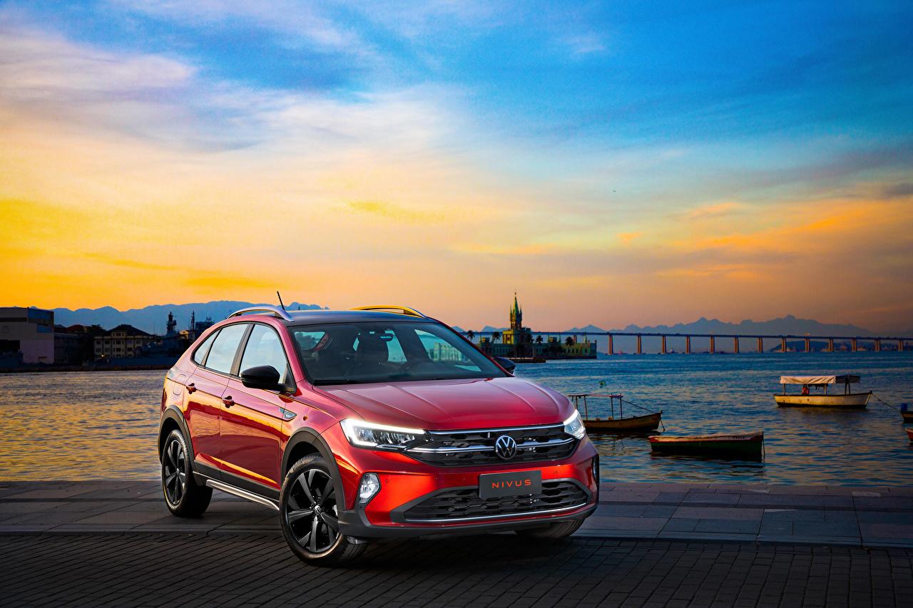Desktop Hintergrundbilder Volkswagen 2020 Nivus Highline 200 TSI Launching Edition Latam Rot automobil Metallisch auto Autos