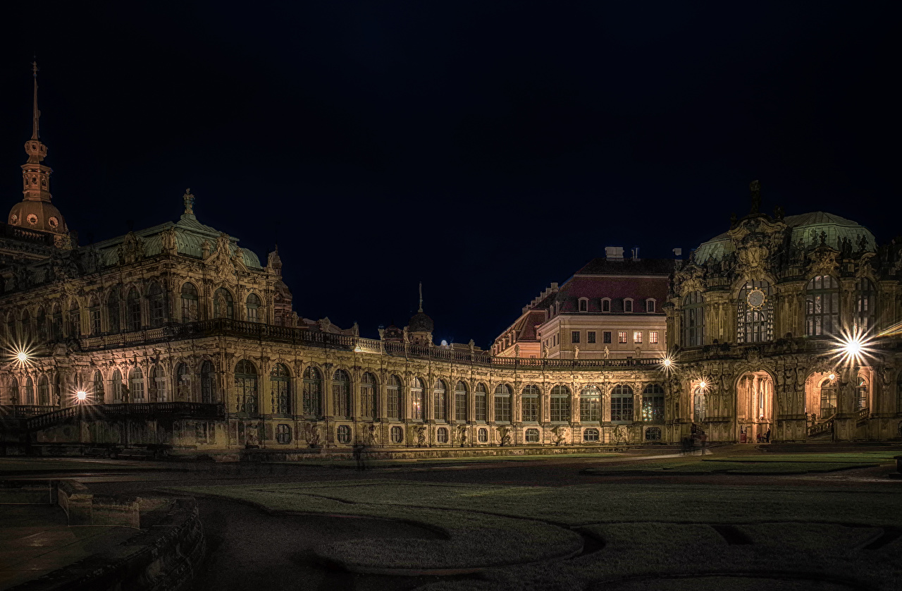 Wallpaper Rays of light Dresden Palace Germany Museum Zwinger palace Night Cities museums night time