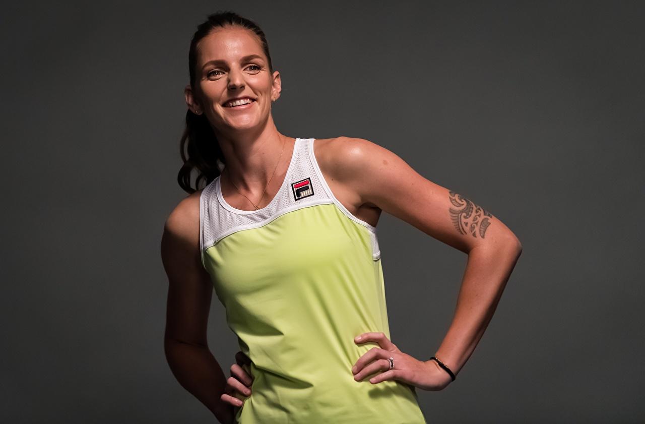 Photo Tattoos Smile Karolina Pliskova posing Sport female Tennis Hands Gray background Pose Girls sports athletic young woman