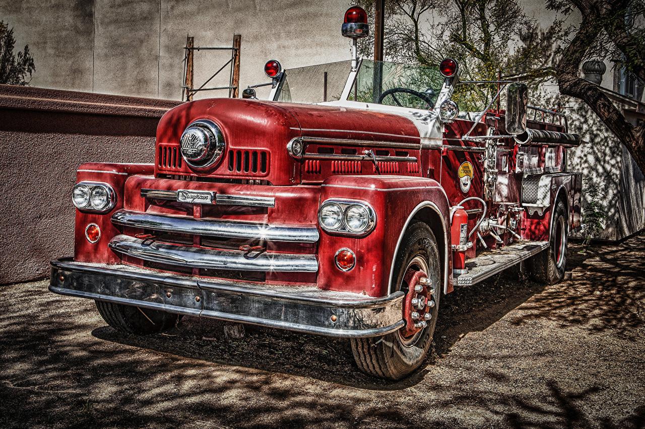 Fondos De Pantalla Retrô Fire Engine 1957 Hdr Rojo Coches