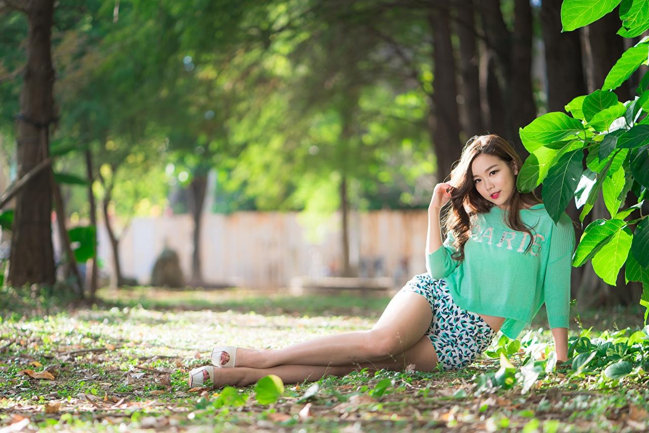 Fotos von Blatt Braunhaarige Bokeh schöne junge frau Bein Asiaten Shorts Blattwerk Braune Haare unscharfer Hintergrund Schön hübsch hübsche schöner schönes hübscher Mädchens junge Frauen Asiatische asiatisches