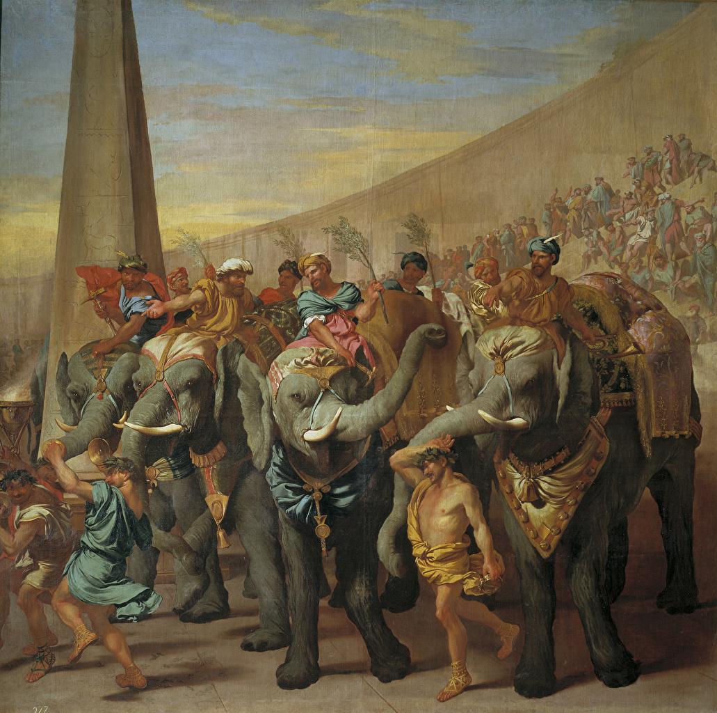 ,绘画,大象,男性,Andrea di Lione, Elephants in a circus,,,
