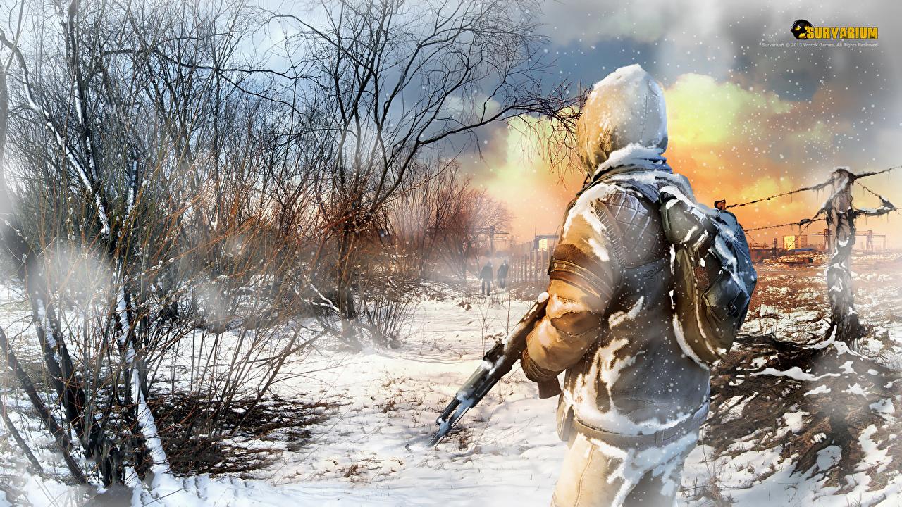 Wallpaper Survarium warrior Assault rifle Snow Games Trees Warriors vdeo game