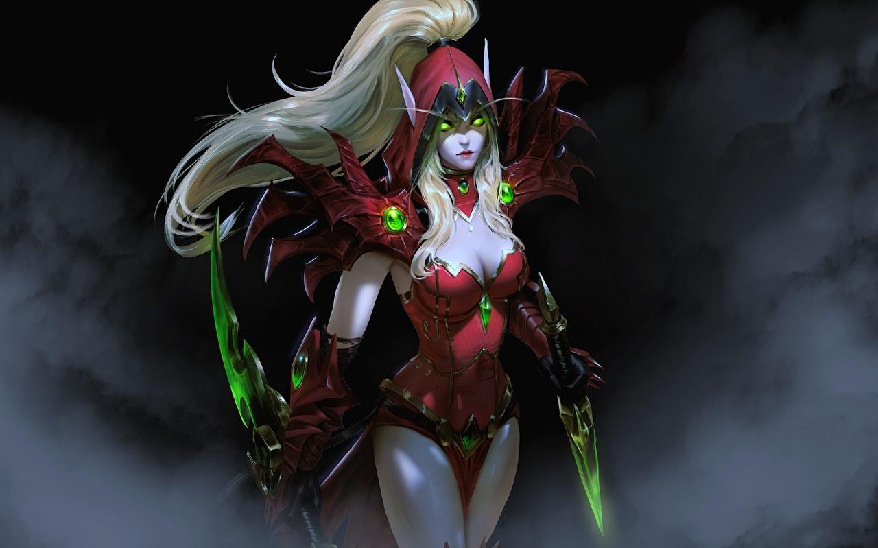 Photo WoW Blonde girl Warriors Assassin Dagger Blood Elf Rogue, Valeera Fantasy young woman vdeo game World of WarCraft Elves warrior Girls female Games