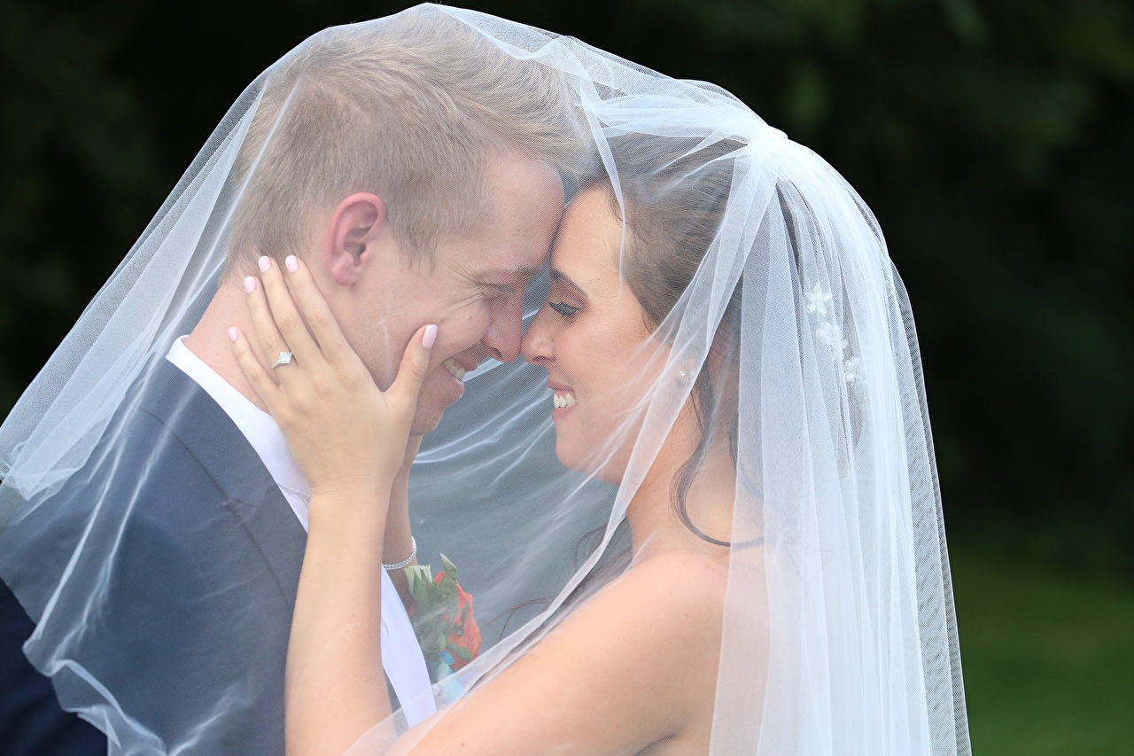 Image grooms brides Wedding Man lovers Smile Two young woman Hands Groom Bride noces marriage Men Couples in love 2 Girls female