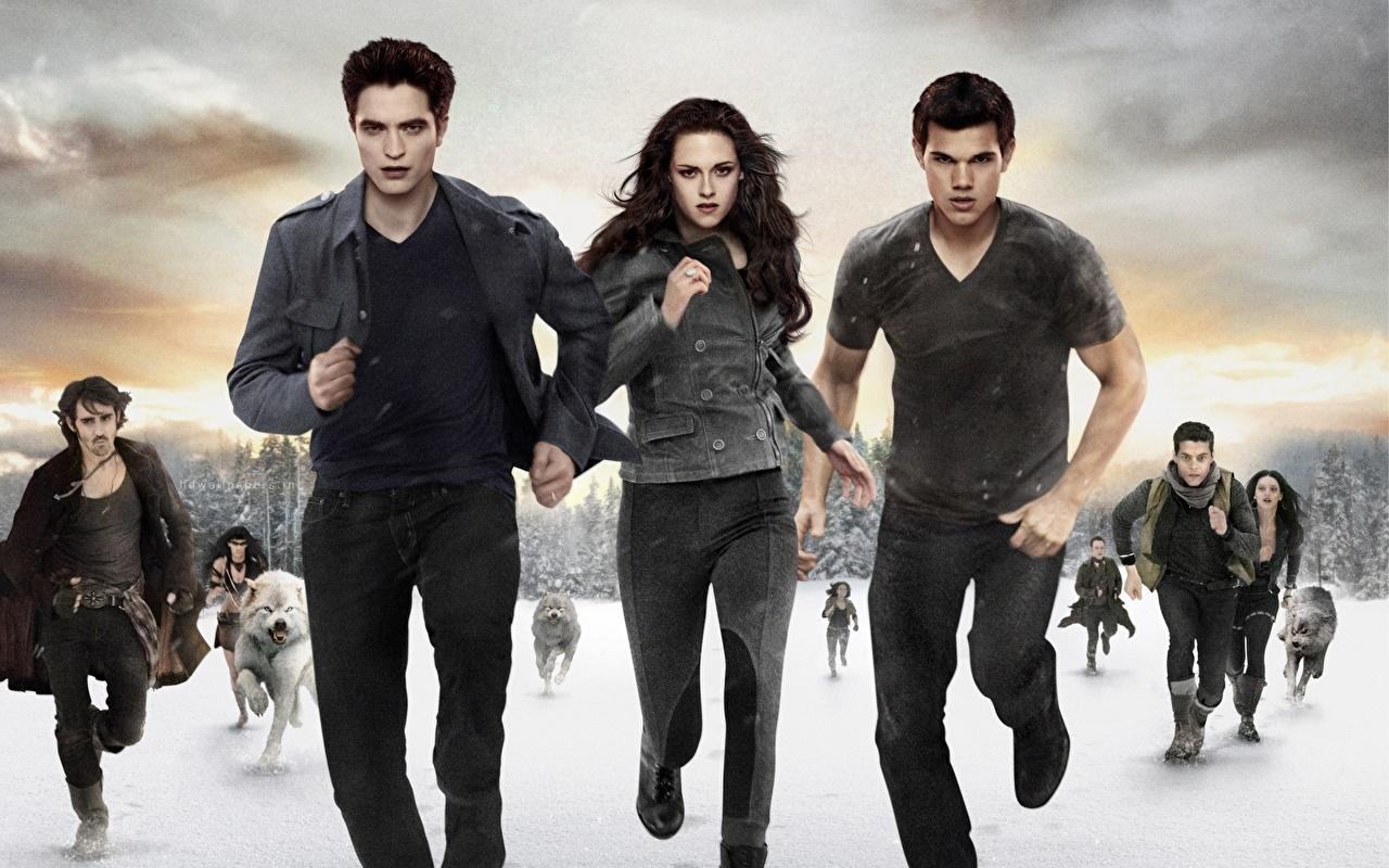 Crepúsculo A Saga Twilight — Amanhecer Kristen Stewart Robert Pattinson Taylor Lautner Correndo Corrida Filme Celebridade