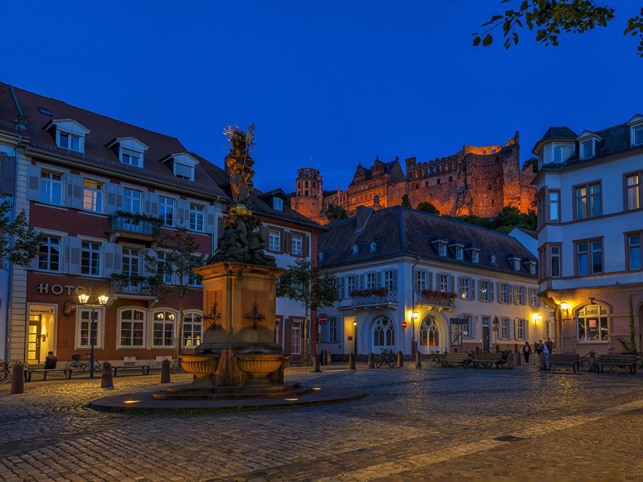 Fotos von Deutschland Denkmal Heidelberg Straße Abend Straßenlaterne Städte Gebäude Stadtstraße Haus