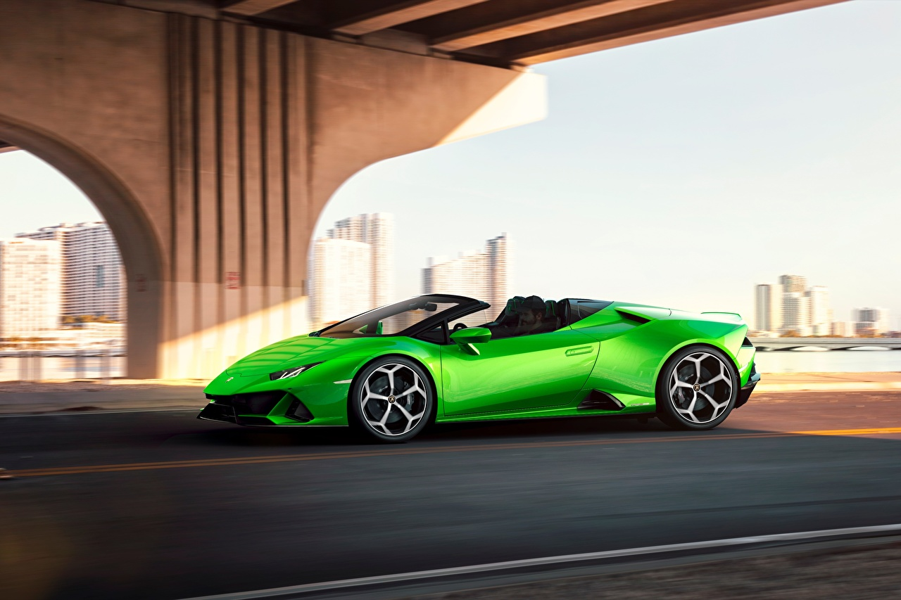 Wallpaper Lamborghini Spyder Evo Huracan Roadster Green Cars Side auto automobile