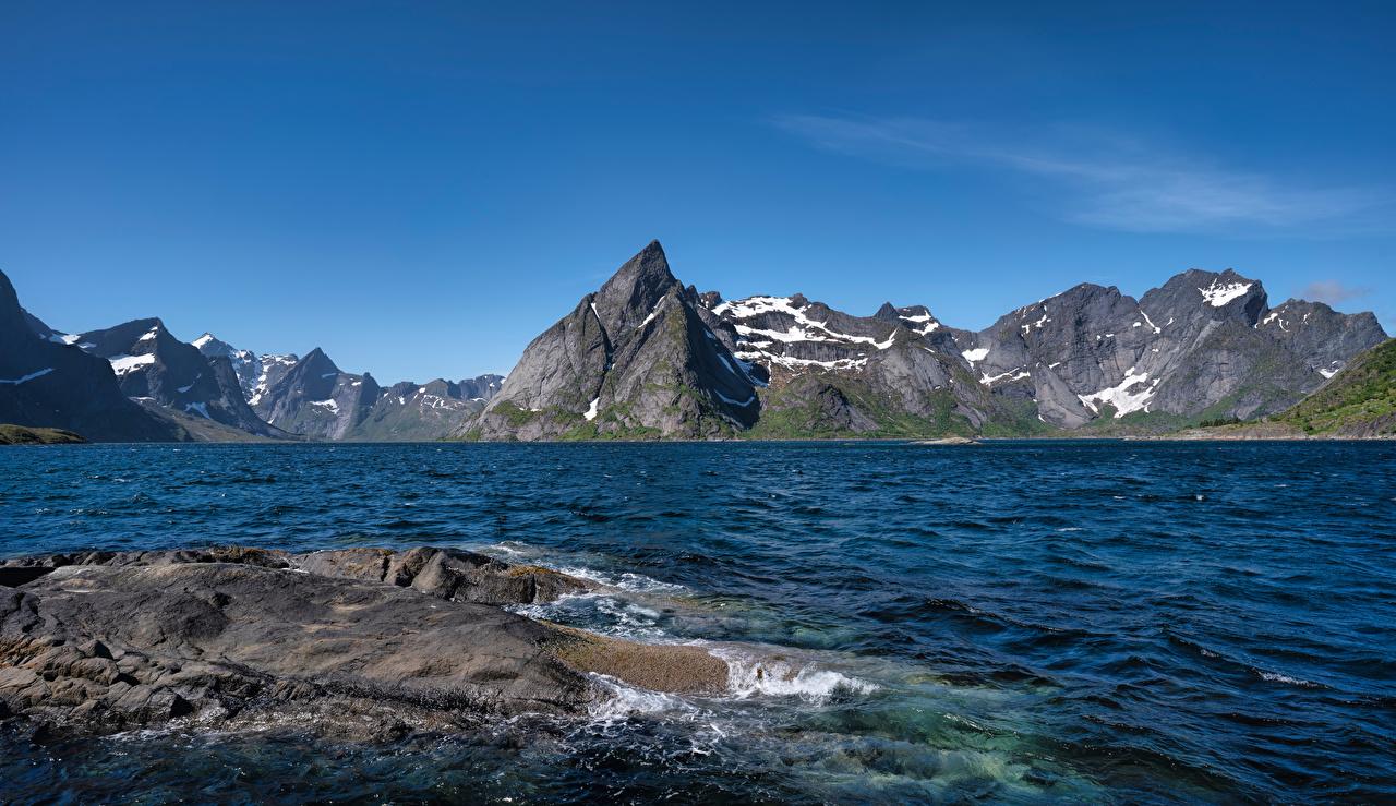 Image Lofoten Norway Cliff Nature Mountains Sky Rock Crag mountain