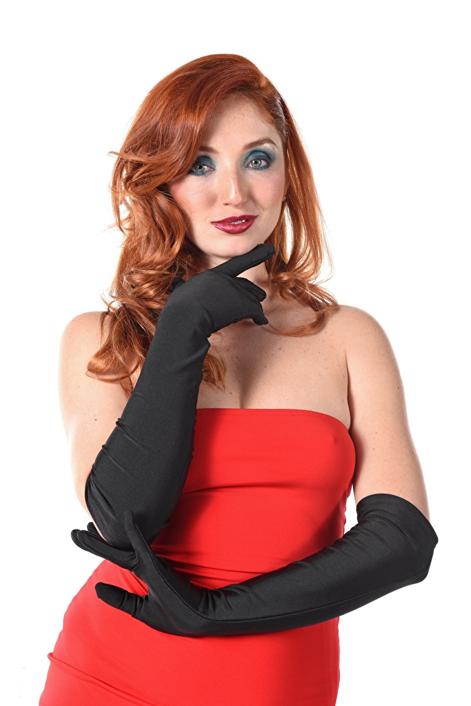 Photos Girls Red Fox Michelle H White background Hands Glove gown iStripper Redhead girl Staring  for Mobile phone female young woman frock Dress Glance