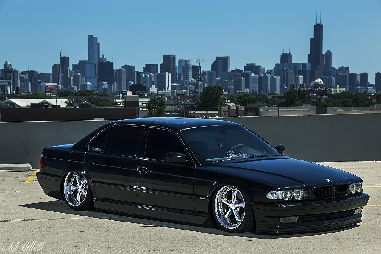 BMW EE.UU. E38 Stance Chicago Ciudad Negro autos, automóvil, automóviles, el carro, Estados Unidos Coches Ciudades